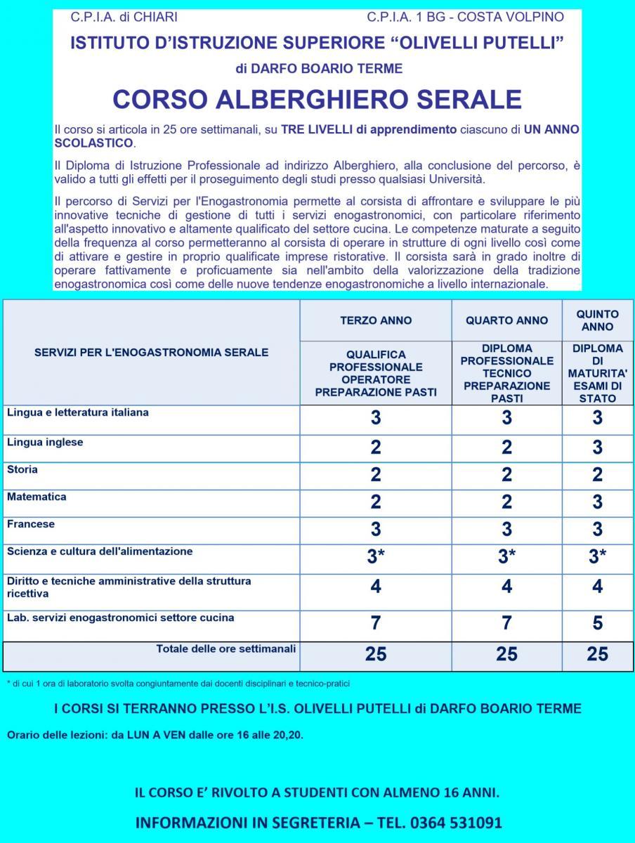 CORSO ALBERGHIERO SERALE